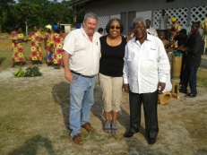 Ambassador Cynthia Akuetteh (center) with Bob Weisflog (left) and Gaston Biyogo (right) at the inauguration of the completed school