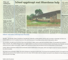 Article in Woerdensche Courant, community in the Netherlands that donated to the project, March 11, 2015