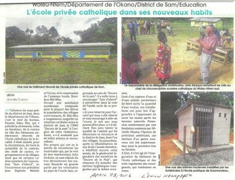 April 28 article on Inauguration of Sam School