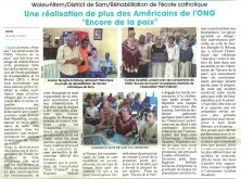 March 14 article in L'Union on Libreville ceremony before work started on Sam school